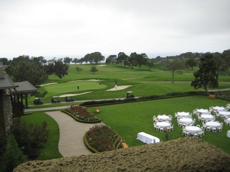 Utsikt fra Hotell rommet ned til greenen på hull # 18,